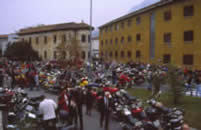 Guzzi Riders are waiting in front of the Factory